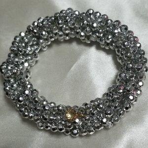 J CREW silver twisted cluster beaded bracelet